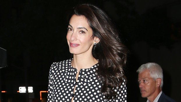 Amal Clooney Goes Working Girl Chic in Polka Dots for Meetings at The U.N.