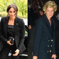 Meghan Markle Wore A Black Pantsuit & It's Super Similar to Princess Diana's Look