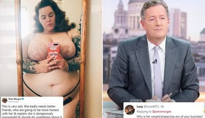Piers Morgan hits out at plus-size model Tess Holliday AGAIN