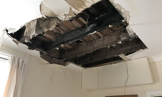 Students' lucky escape as section of ceiling collapses in living room