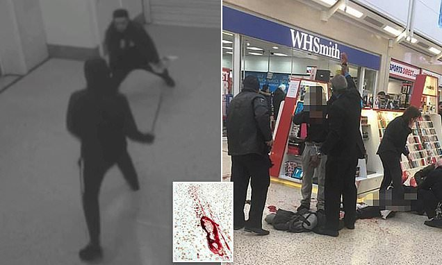 Teenagers 'slashed each other with blades in busy shopping centre'