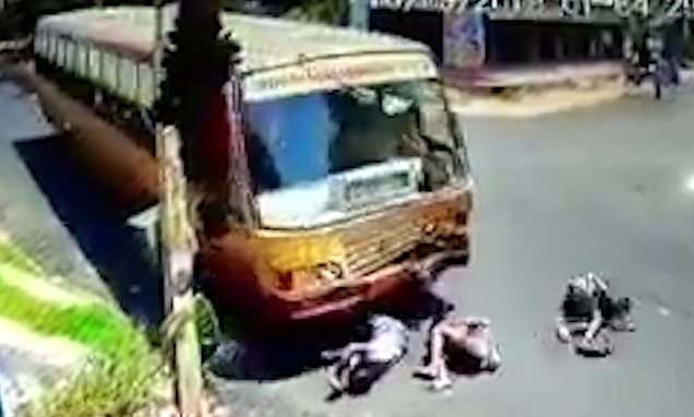 Three drunk men amazingly survive head-on crash with a bus