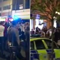 Thug hurls a 'gas' canister at a Freshers night in Wild West Britain