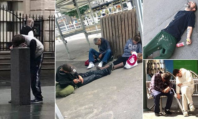 Harrowing pictures show zombie-like drug users passed out in Doncaster