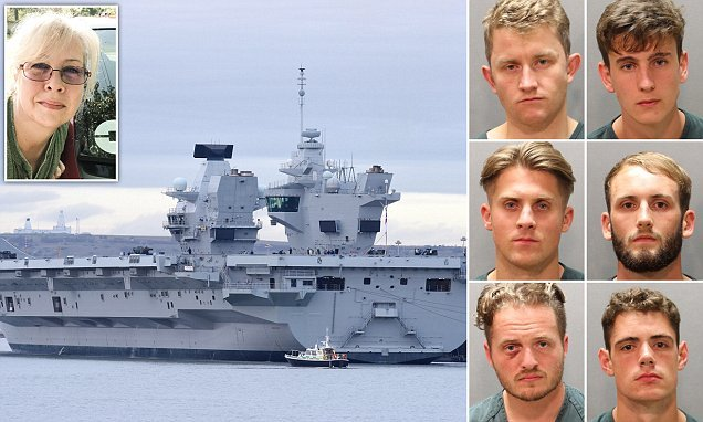 Sailors from £3.1bn aircraft carrier win US fans with act of chivalry