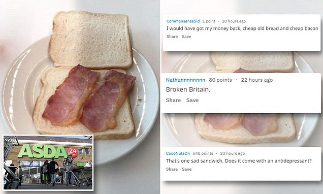 Asda cafe bacon sandwich is branded 'abysmal' by Reddit users