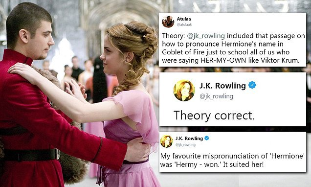 J.K. Rowling tells fan she had Hermione sound out her name on purpose
