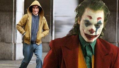 Joaquin Phoenix wears iconic makeup as he channels the Joker