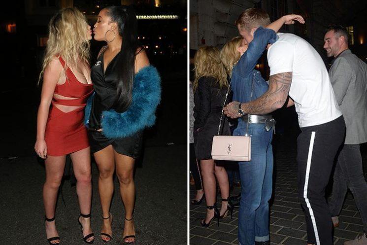 Celebrity Big Brother's Chloe Ayling and Natalie Nunn kiss as Dan Osborne and Gabby Allen share a hug after boozy reunion meal