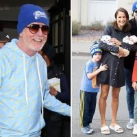 Chris Evans beams with happiness as he leaves his breakfast radio show the day after bringing newborn twins Boo and Walt home