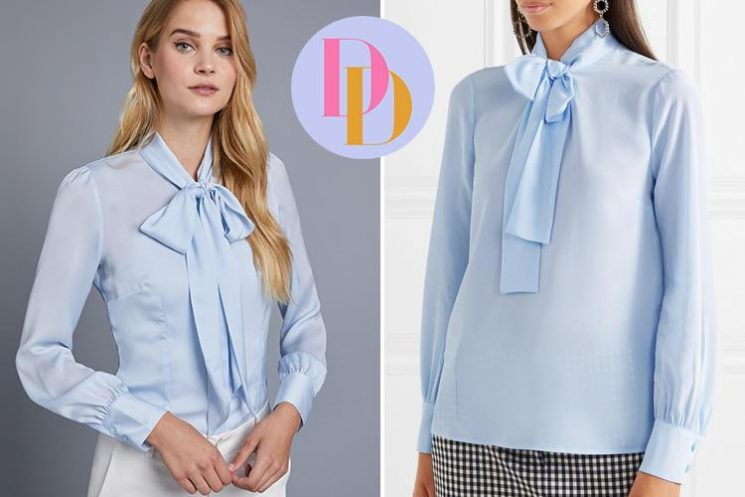 Hawes & Curtis is selling a £22.50 pussy-bow blouse that looks just like Miu Miu's £570 version – can you tell the difference?