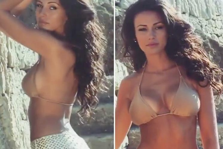 Michelle Keegan poses in a nude bikini in sexy behind the scenes video from shoot