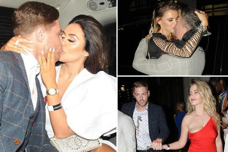 Loved-up Charlotte Dawson and Hayley Hughes share a smooch with their other halves as they leave boozy awards bash