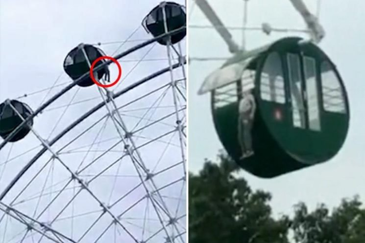 Terrifying moment boy, 5, dangles by NECK from 130ft ferris wheel after climbing out when he was allowed to travel alone