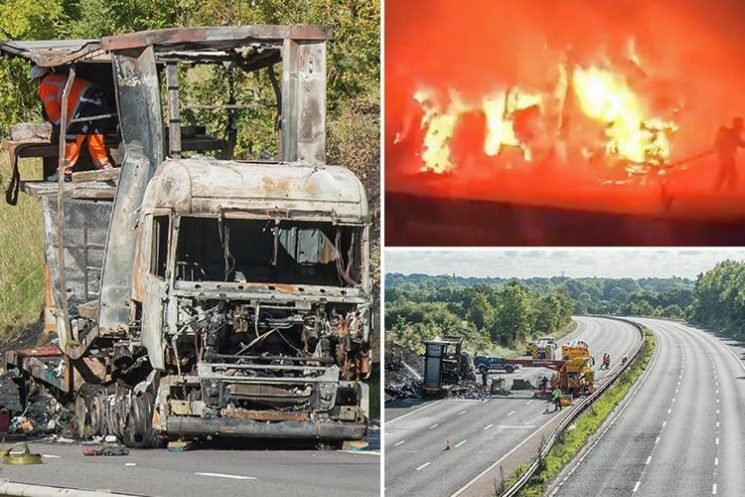 Lorry driver dies in M40 inferno after three trucks crash and HGV catches fire closing motorway and sparking five-hour jam
