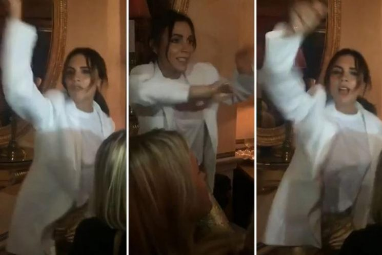 Victoria Beckham is filmed dancing to Spice Up Your Life at afterparty for her London fashion show
