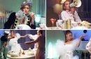 Gigi, Bella, Anwar and Yolanda Hadid recreate iconic dinner scene from Beetlejuice clad in New York Fashion Week designs for bizarre Vogue film