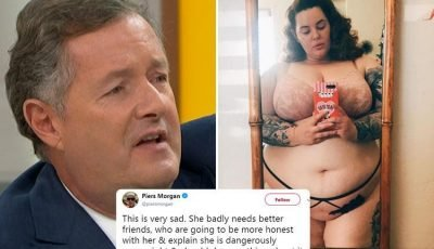 Piers Morgan calls Tess Holliday's underwear selfie 'very sad' and says she 'needs better friends' who will be 'more honest' about her 'dangerously overweight' figure