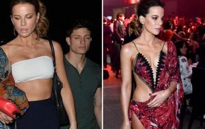 Kate Beckinsale, 45, flashes her toned tummy in a boob-tube on night out with toyboy Matt Rife, 23