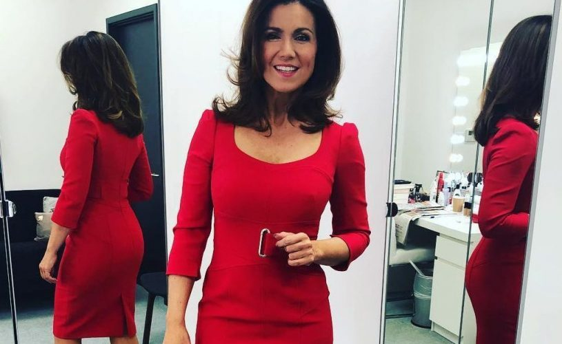 Susanna Reid gets bombarded with peach emojis as fans go wild over her pert bum in sexy red dress