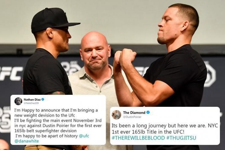 UFC boss Dana White forced to deny new 165lb belt after Nate Diaz and Dustin Poirier,claim to be fighting for title