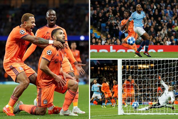 Man City 1 Lyon 2: Nabil Fekir and Maxwel Cornet sink Premier League champs as Pep Guardiola watches from stands