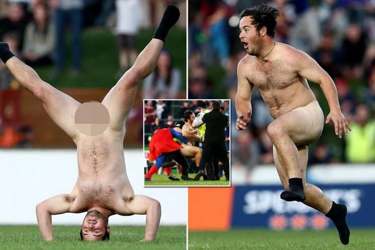 Streaker invades rugby pitch and does headstand wearing only his socks before Superman saves the day