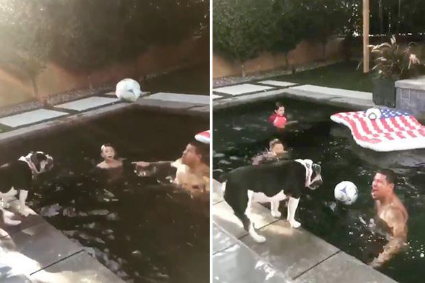 MLS star Nick Rimando plays head tennis with his dog in pool… and LOSES in brilliant clip