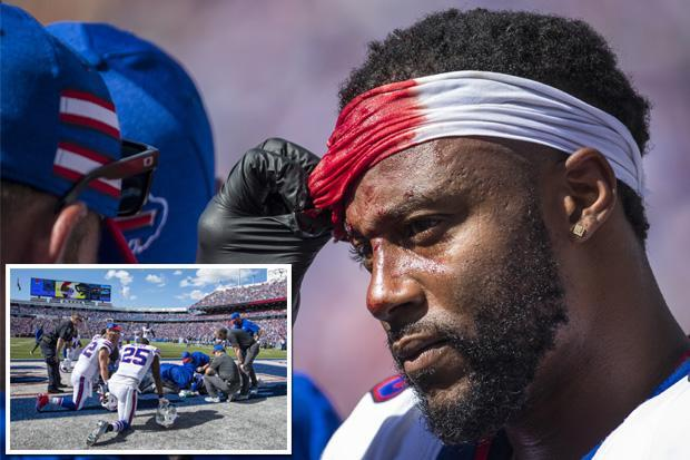NFL star Taiwan Jones left in a bloody mess after being hit in the head while helmet was OFF