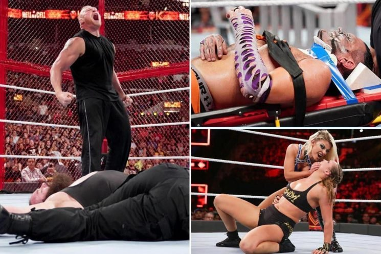 WWE Hell in a Cell RESULTS: Brock Lesnar returns to cause carnage for Roman Reigns and Braun Strowman while Jeff Hardy is left 'hospitalised' after horror fall