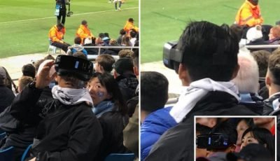Football fan spotted wearing VR headset at two matches in three days