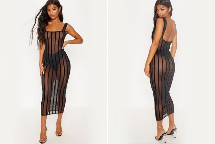 PrettyLittleThing is selling an £18 mesh maxi dress which leaves absolutely NOTHING to the imagination