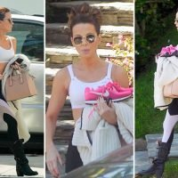 Kate Beckinsale shows off her toned midriff in sports bra and leggings