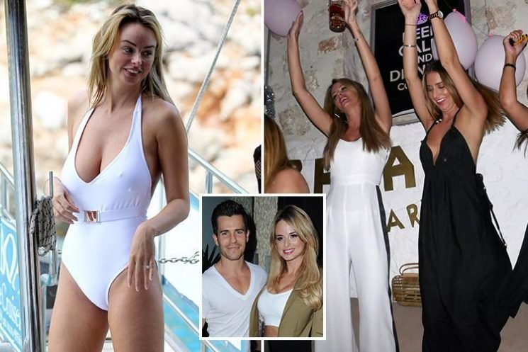 Rhian Sugden wears a low-cut white swimsuit as she celebrates in Turkey before wedding to Oliver Mellor