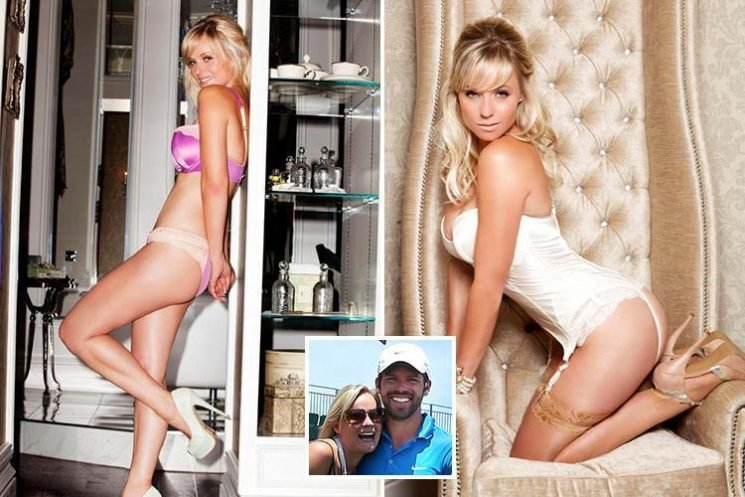 Ryder Cup star Paul Casey's wife Pollyanna Woodward looks chipper as she strips down to white lingerie
