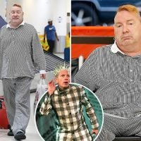 Former Sex Pistol Johnny Rotten snapped looking larger than usual as he waits for luggage at LAX
