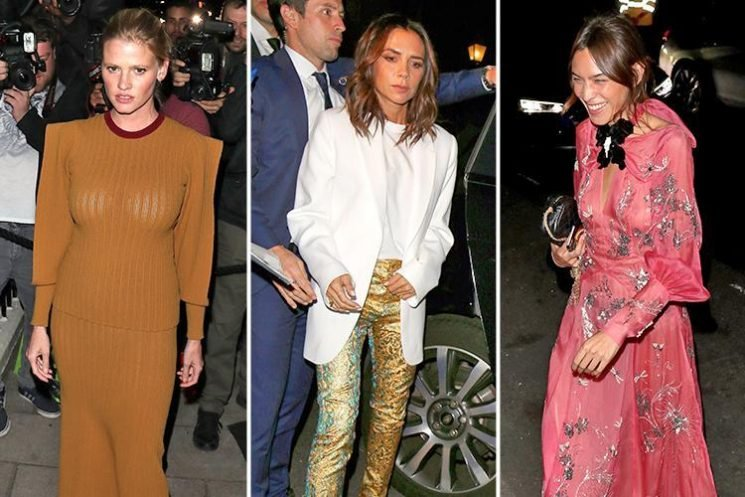 Victoria Beckham wears golden trousers and white blazer to her Vogue party with husband David