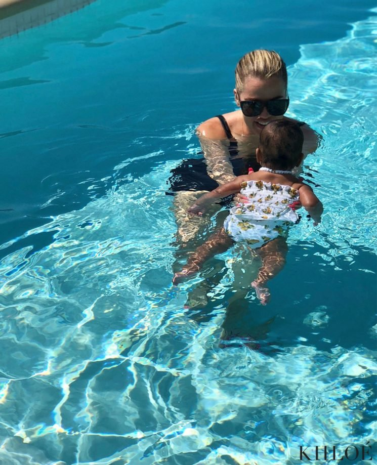 Khloe Kardashian and Tristan Thompson Join Daughter True for Her First Swimming Lesson