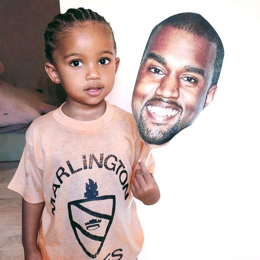 Kim Kardashian Shares Adorable Photo of Son Saint Pretending to Be Dad Kanye West