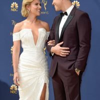 Emmys Host Colin Jost and Scarlett Johansson Lovingly Look Into Each Other's Eyes on the Red Carpet