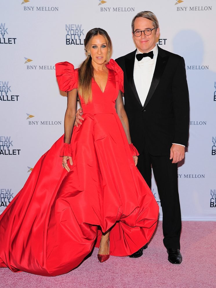 Sarah Jessica Parker Steps Out in Red Ball Gown for Date Night with Husband Matthew Broderick