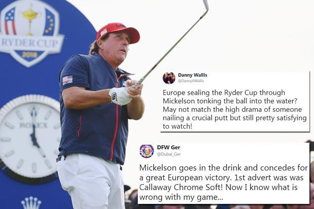 Ryder Cup 2018: Phil Mickelson dumps tee shot into the water and Twitter is in tears of laughter as shot clinches Europe victory