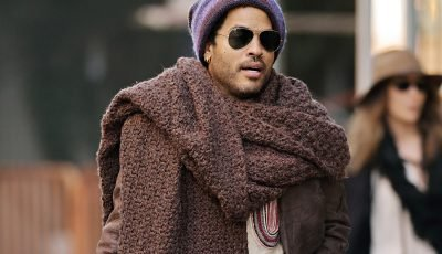Lenny Kravitz isn't laughing at his giant scarf