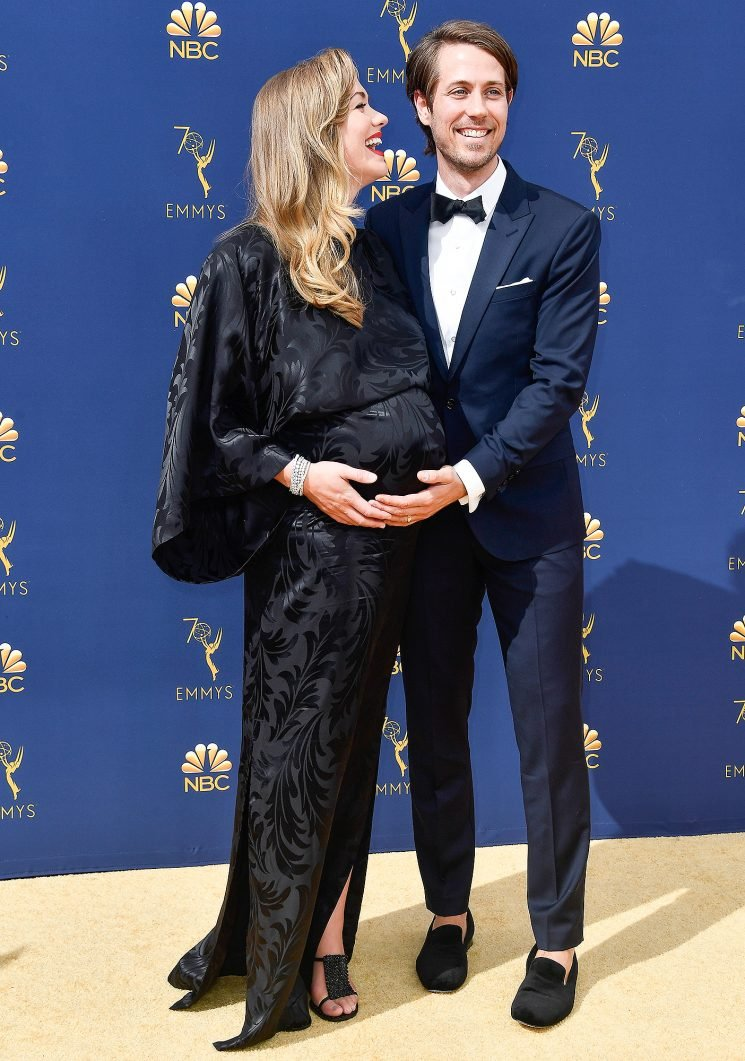 Pregnant Yvonne Strahovski Reveals She's Due 'Any Day' (and Her Baby's Sex!) at the 2018 Emmys