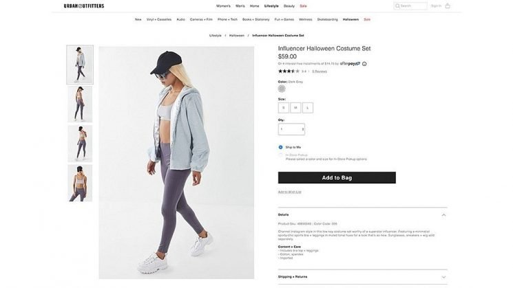 Urban Outfitters selling 'Influencer' Halloween costume that's just leggings and a bra: 'The dumbest thing I've ever seen'