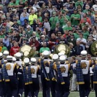 Notre Dame band uses stick figure to recreate historic basketball shot