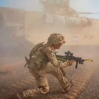 5,500 Brit troops' high-tech war games in the desert go on from dusk till dawn