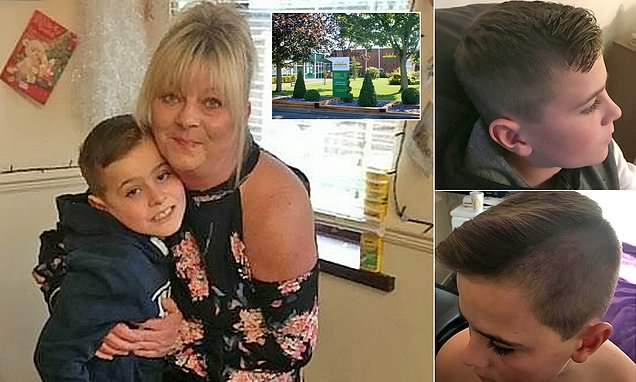 Fury after school removes son from class over 'extreme haircut'
