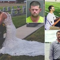 Bride wears wedding dress to fiance's grave on day they were to marry