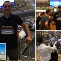 Singapore Airlines passengers check in for the world's longest flight
